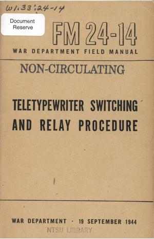 Primary view of object titled 'Teletypewriter switching and relay procedure.'.
