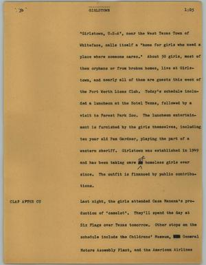 Primary view of object titled '[News Script: Girlstown]'.