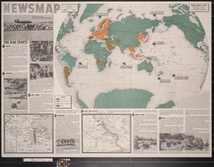 Primary view of object titled 'Newsmap. Monday, March 22, 1943 : week of March 12 to March 19, 184th week of the war, 66th week of U.S. participation'.