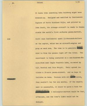 Primary view of object titled '[News Script: Pecans]'.