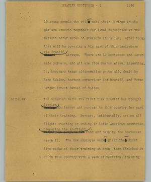 Primary view of [News Script: Braniff hostesses]