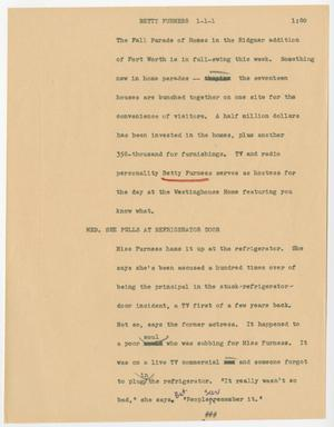 Primary view of [News Script: Betty Furness]