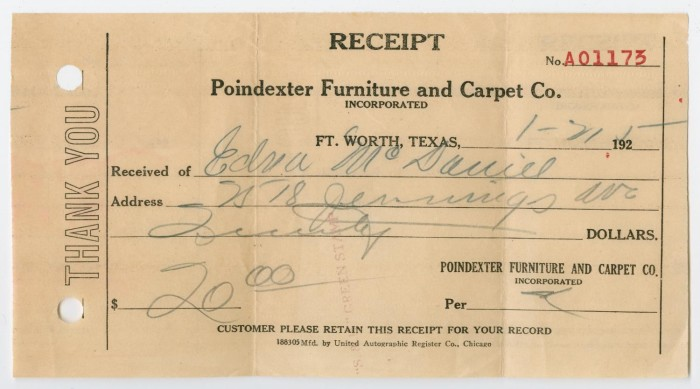 receipt for furniture from the byrd williams jr scrapbook