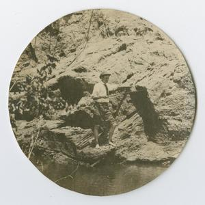 Primary view of object titled '[Photo a man fishing from the Byrd Williams Jr. album, 1907-1920]'.