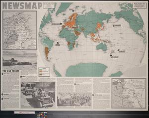 Primary view of object titled 'Newsmap. Monday, March 8, 1943 : week of February 26 to March 5, 182nd week of the war, 64th week of U.S. participation'.