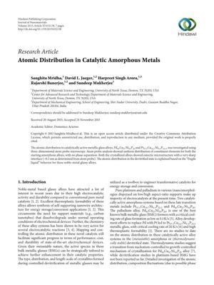 Atomic Distribution in Catalytic Amorphus Metals