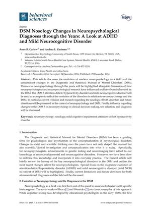 Primary view of object titled 'DSM Nosology Changes in Neuropsychological Diagnoses through the Years: A Look at ADHD and Mild Neurocognitive Disorder'.
