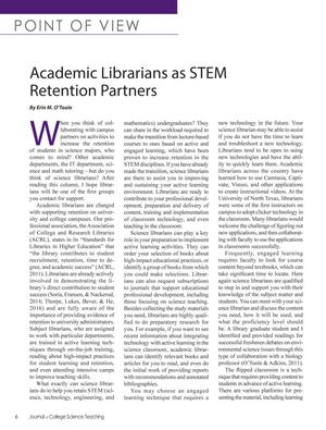 Primary view of object titled 'Academic Librarians as STEM Retention Partners'.