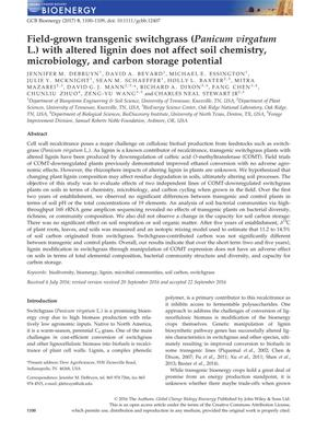 Primary view of object titled 'Field-grown transgenic switchgras (Panicum virgatum L.) with altered lignin does not affect soil chemistry, microbiology, and carbon storage potential'.