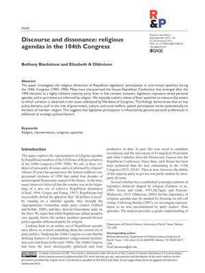 Primary view of object titled 'Discourse and dissonance: religious agendas in the 104th Congress'.