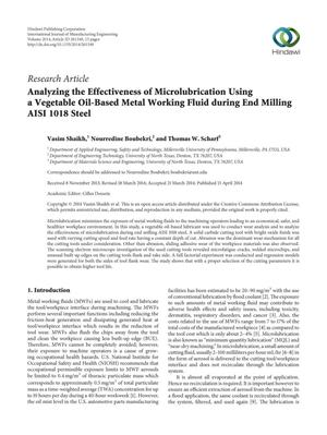 Primary view of object titled 'Analyzing the Effectiveness of Microlubrication Using a Vegetable Oil-Based Metal Working Fluid during End Milling AISI 1018 Steel'.