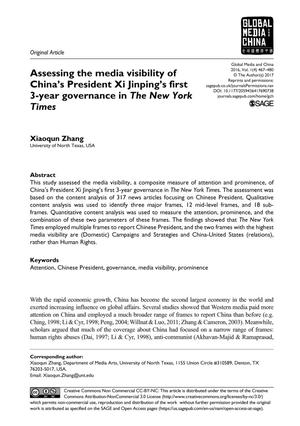 Primary view of object titled 'Assessing the media visibility of China's President Xi Jinping's first 3-year governance in The New York Times'.