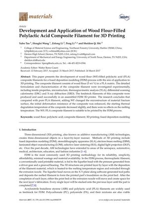 Development and Application of Wood Flour-Filled Polylactic Acid Composite Filament for 3D Printing