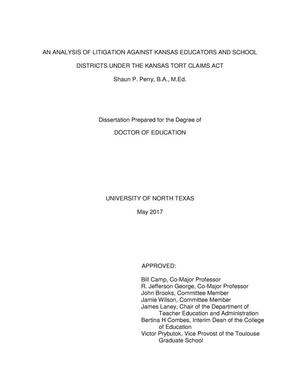 Primary view of object titled 'An Analysis of Litigation against Kansas Educators and School Districts under the Kansas Tort Claims Act'.