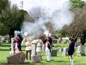 Primary view of object titled '[Gun Salute at Grave Dedication]'.