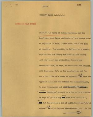 Primary view of object titled '[News Script: Sheriff Clark]'.