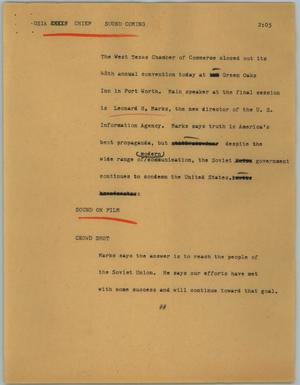 Primary view of object titled '[News Script: USIA chief]'.