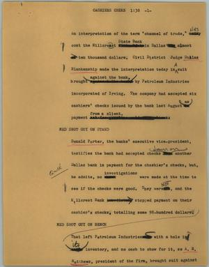 Primary view of object titled '[News Script: Cashiers cheks]'.