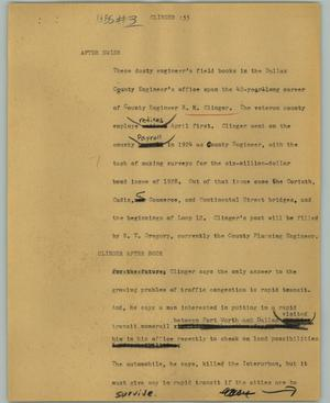 Primary view of object titled '[News Script: Clinger]'.