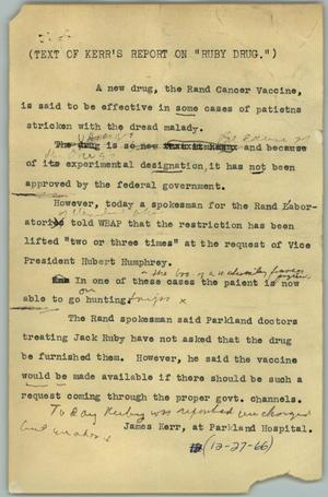 Primary view of object titled '[News Script: Ruby drug]'.