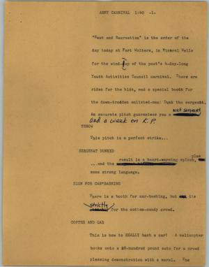 Primary view of object titled '[News Script: Army carnival]'.