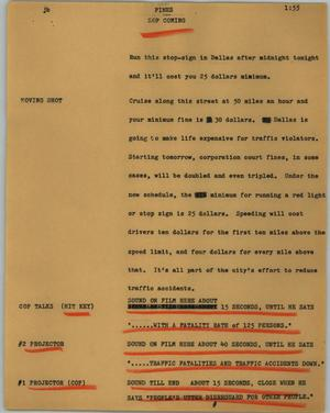 Primary view of object titled '[News Script: Fines]'.