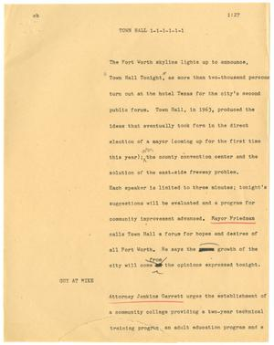 Primary view of object titled '[News Script: Town hall]'.