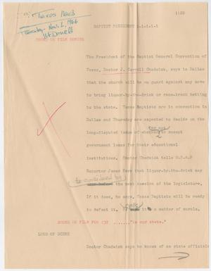 Primary view of object titled '[News Script: Baptist president]'.