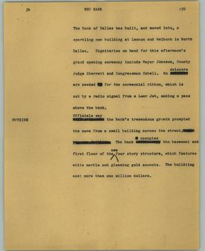 Primary view of object titled '[News Script: New bank]'.