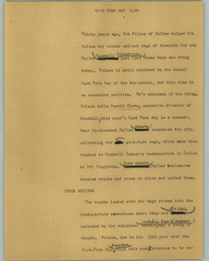 Primary view of object titled '[News Script: Good turn day]'.