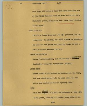 Primary view of object titled '[News Script: Christmas party]'.