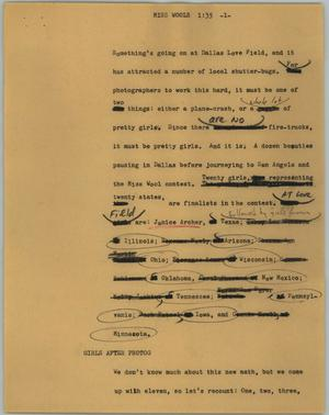 Primary view of object titled '[News Script: Miss Wools]'.