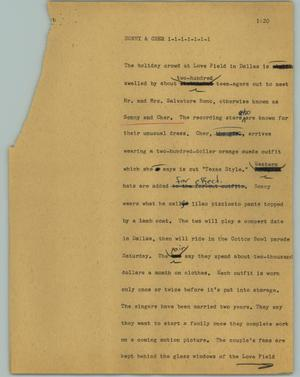Primary view of object titled '[News Script: Sonny & Cher]'.