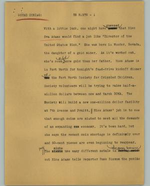 Primary view of object titled '[News Script: US Mints]'.