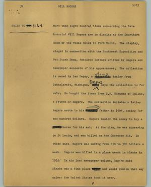 Primary view of object titled '[News Script: Will Rogers]'.