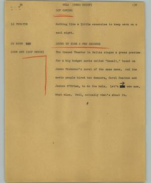 Primary view of object titled '[News Script: Hula (News brief)]'.