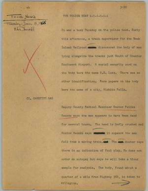 Primary view of object titled '[News Script: The police beat]'.