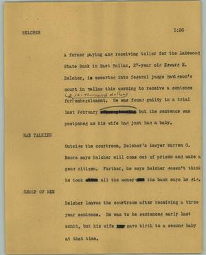 Primary view of object titled '[News Script: Belcher]'.