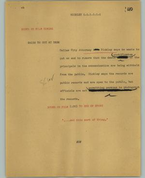 Primary view of object titled '[News Script: Bickley]'.
