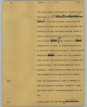 Primary view of object titled '[News Script: Marine]'.
