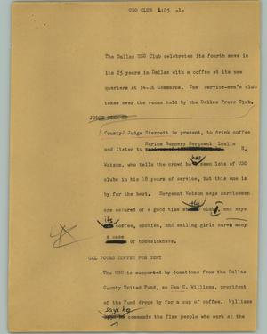 Primary view of object titled '[News Script: USO Club]'.