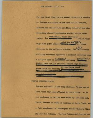 Primary view of object titled '[News Script: Air stories]'.