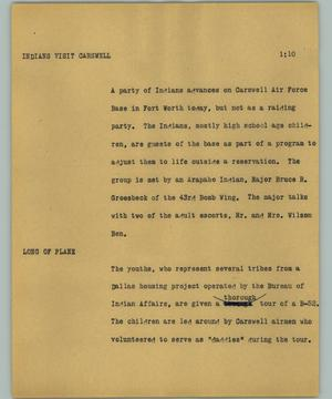 Primary view of object titled '[News Script: Indians visit Carswell]'.