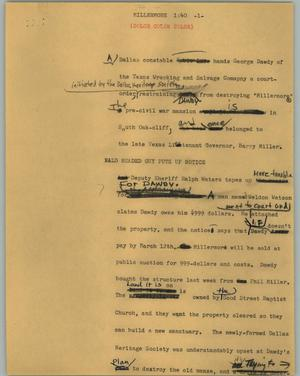 Primary view of object titled '[News Script: Millermore]'.