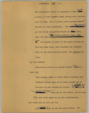 Primary view of object titled '[News Script: Businesses]'.