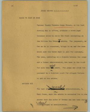 Primary view of object titled '[News Script: Judge Crouch]'.