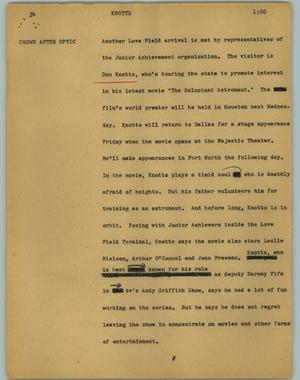 Primary view of object titled '[News Script: Knotts]'.