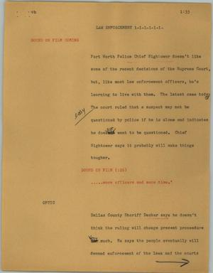 Primary view of object titled '[News Script: Law enforcement]'.