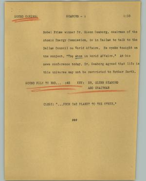 Primary view of object titled '[News Script: Seaborg]'.