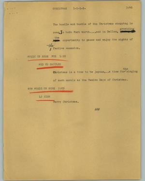 Primary view of object titled '[News Script: Christmas]'.